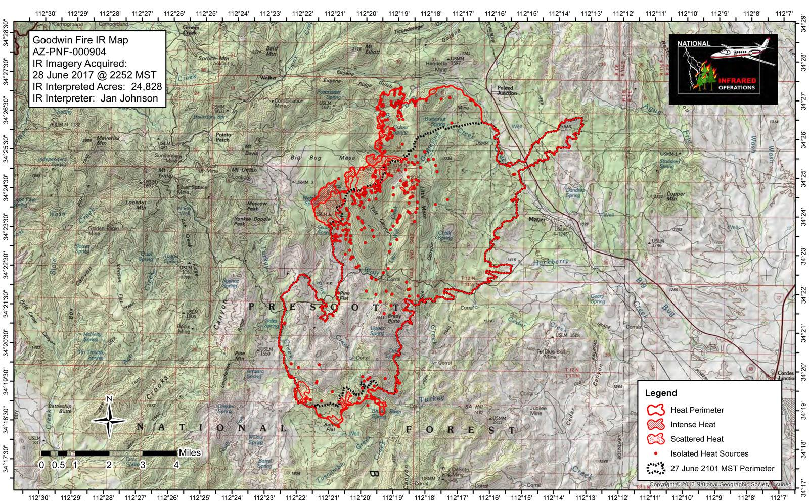 Fire Map From US Forest Service Prescott National Forest