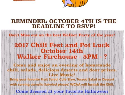 WCAA – 2017 Chili Fest and Pot Luck Oct. 14th