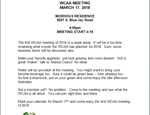 WCAA MEETING – March 17th, 2018