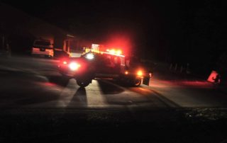 Walker Engine 80 leaves the fire station en route to the Treehouse Incident Friday night, June 8, 2018. The fire burned one structure and less than one acre on Treehouse Lane in Walker. (Les Stukenberg/Courier)