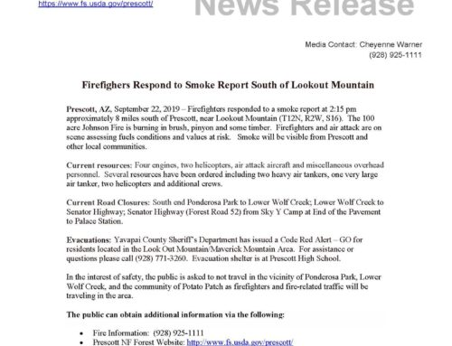 Johnson Fire – Forest Service Press Release