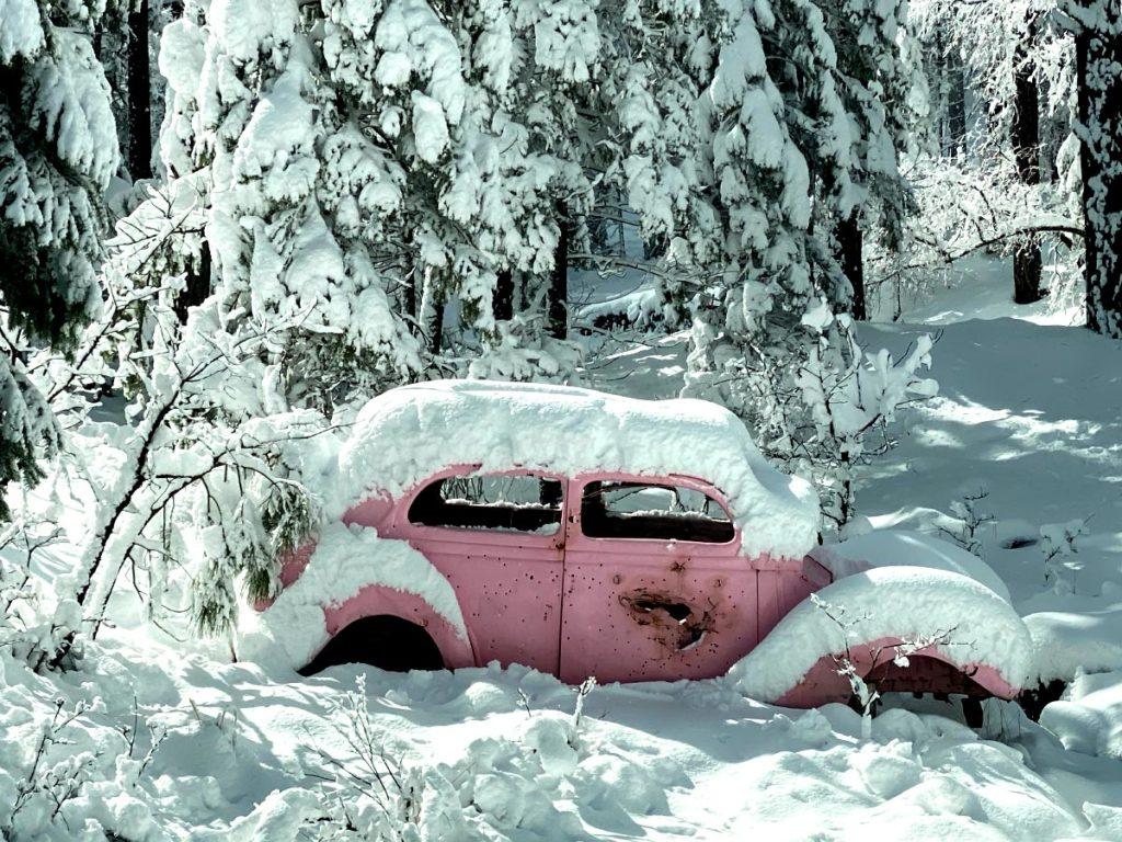 Pink Car Snow